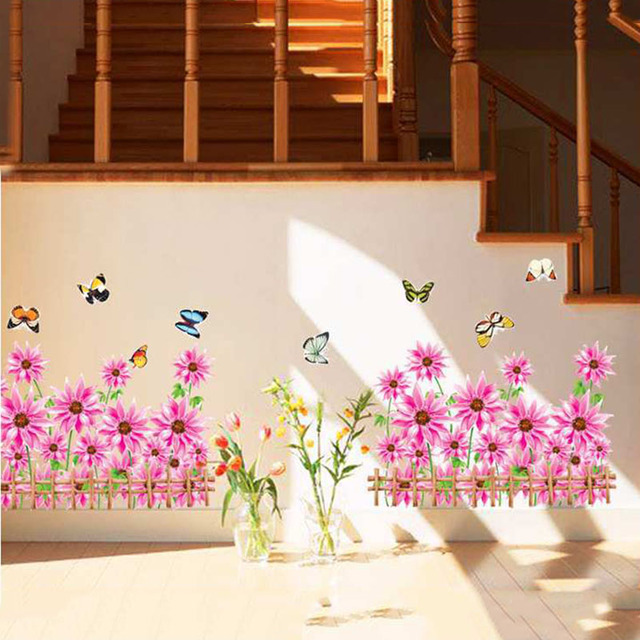 Skirting Line Vinyl Sticker Murau Pink Flowers Wall Stickers For