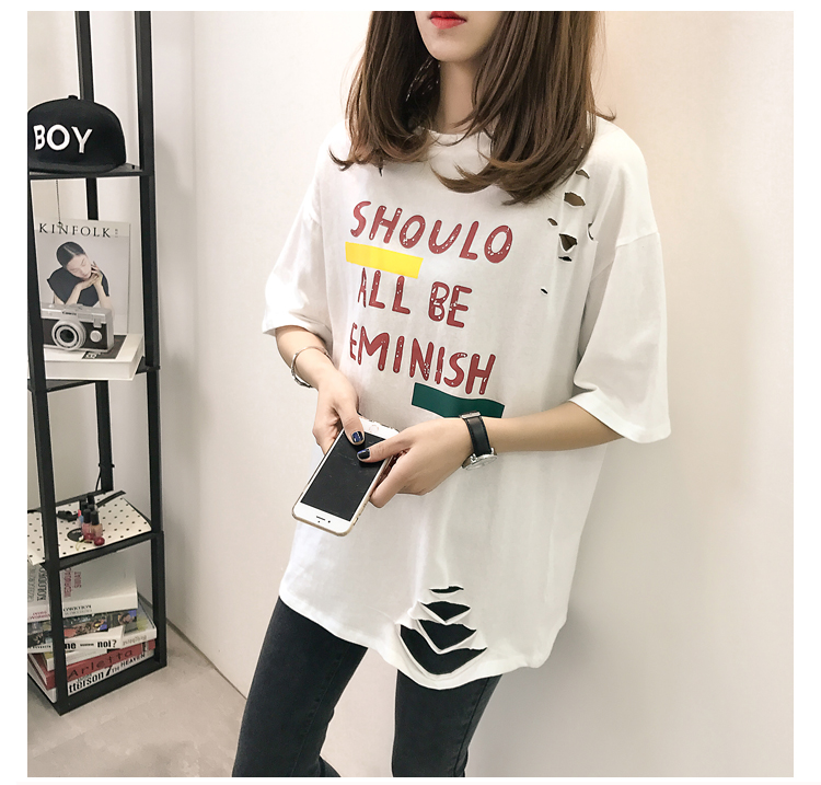 XL- 4XL 2019 new plus size summer loose High Street hole Letter print short sleeve O-Neck women T-shirt top tee TY5 14