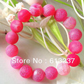 Green blue yellow rose red frost matte agate stone beaded bracelet bangle for woman 12mm round beads jewelry 7.5inch MY5201