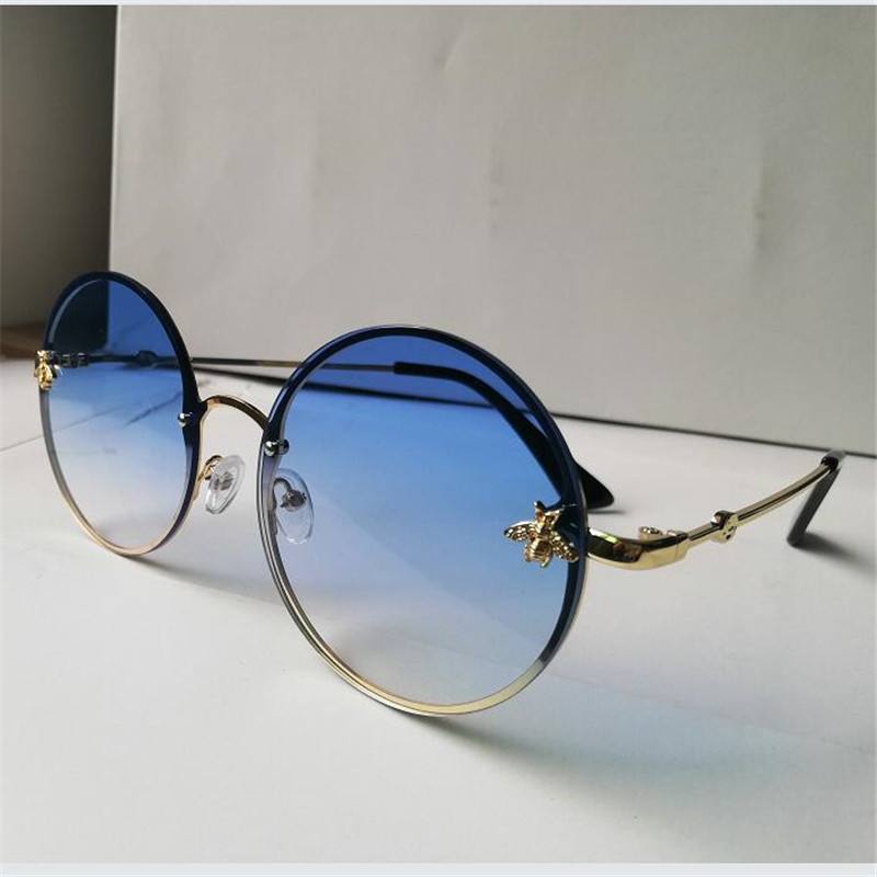 KAPELUS Round Sunglasses Bee-Decoration Metal Frame B02 Marine-Film