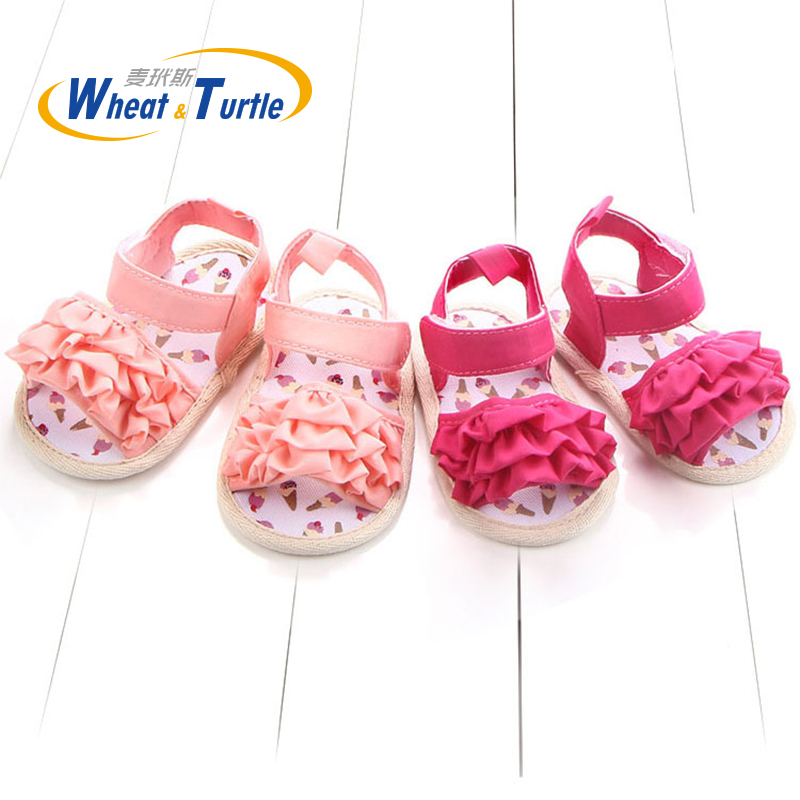 Mother Kids Baby Shoes Summer First Walkers Cotton Soft Sole Lovely Pleats Non-Slip Crib Toddler Shoes For Newborn Infant Girls