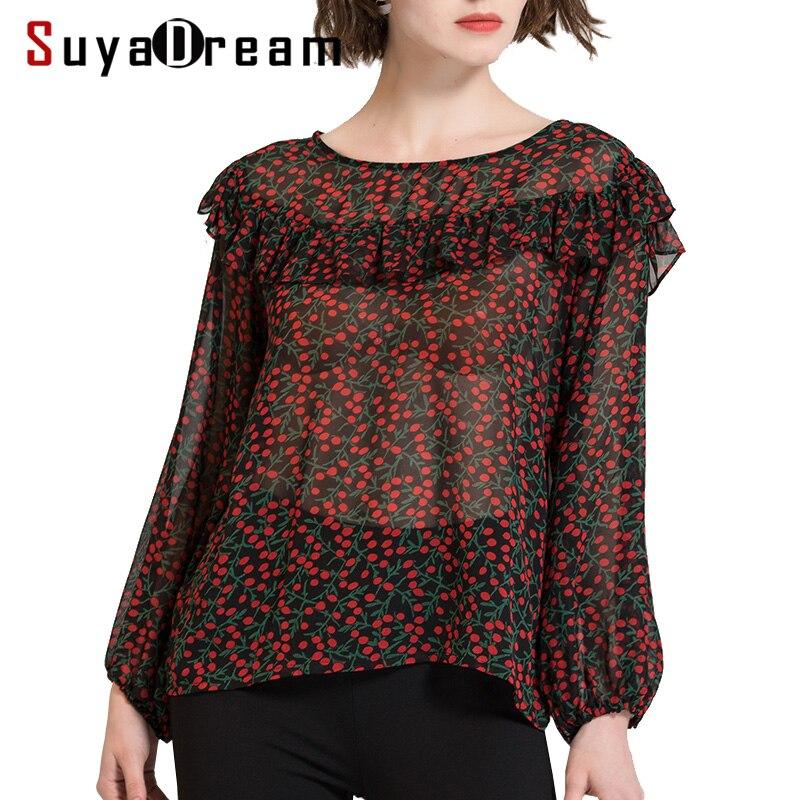 Women Long sleeve SHIRT 100 Real silk Sweet Print Transparent casual Top 2019 Spring Summer New