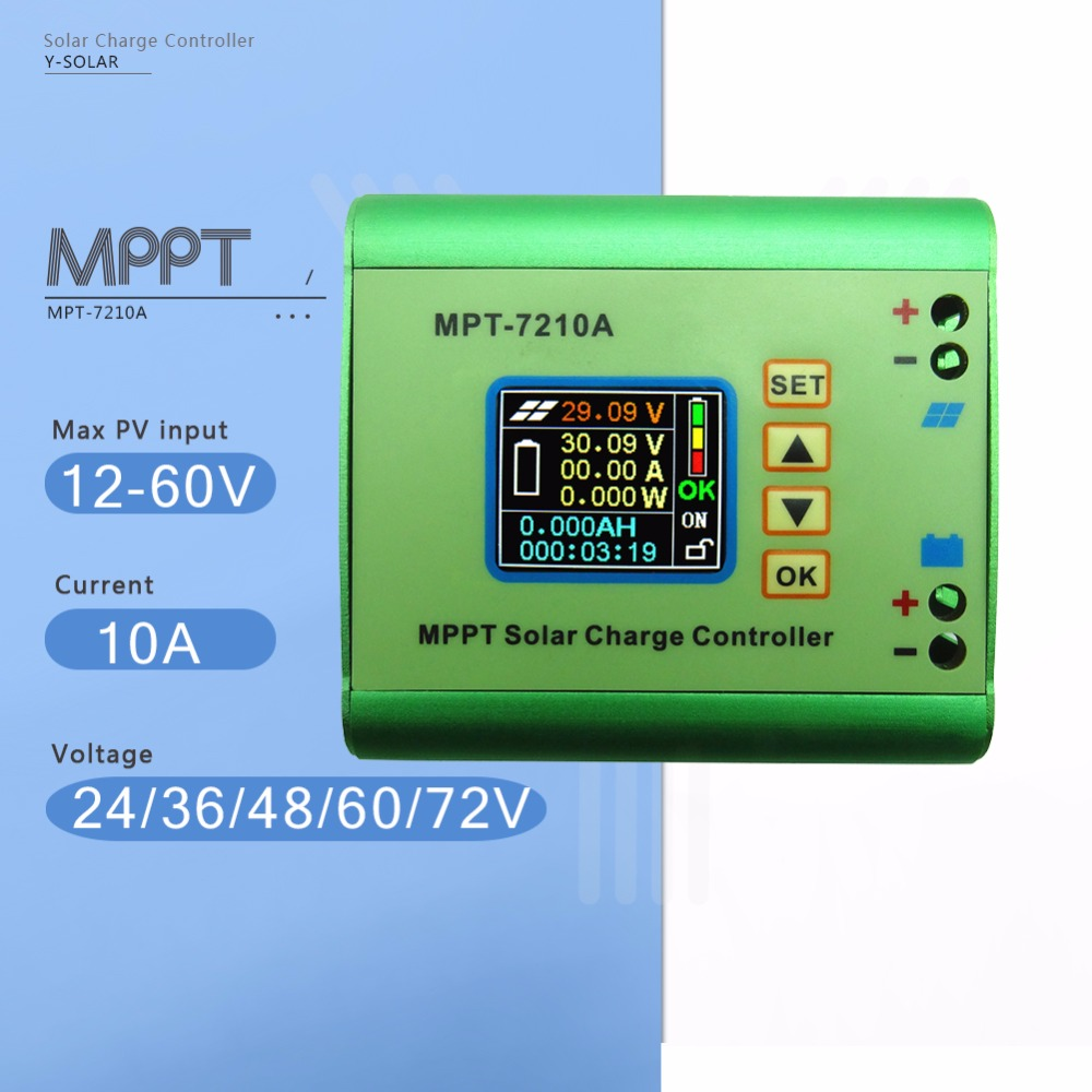 MPPT 10A Step-up Solar Charge Controller 24/36/48/60/72V Battery Max 600W Solar Battery Panel Charge Regulator with LCD Display цены онлайн