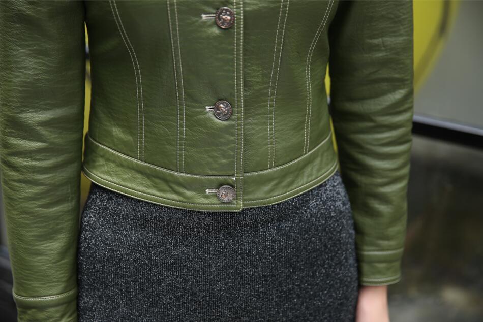 Petit Manteaux Plus rouge Moto army Noir Vestes Court Habillement Cuir Green Femmes En Oaired Manteau 2018 La Nouveau Veste Taille Mince zqgdgaw