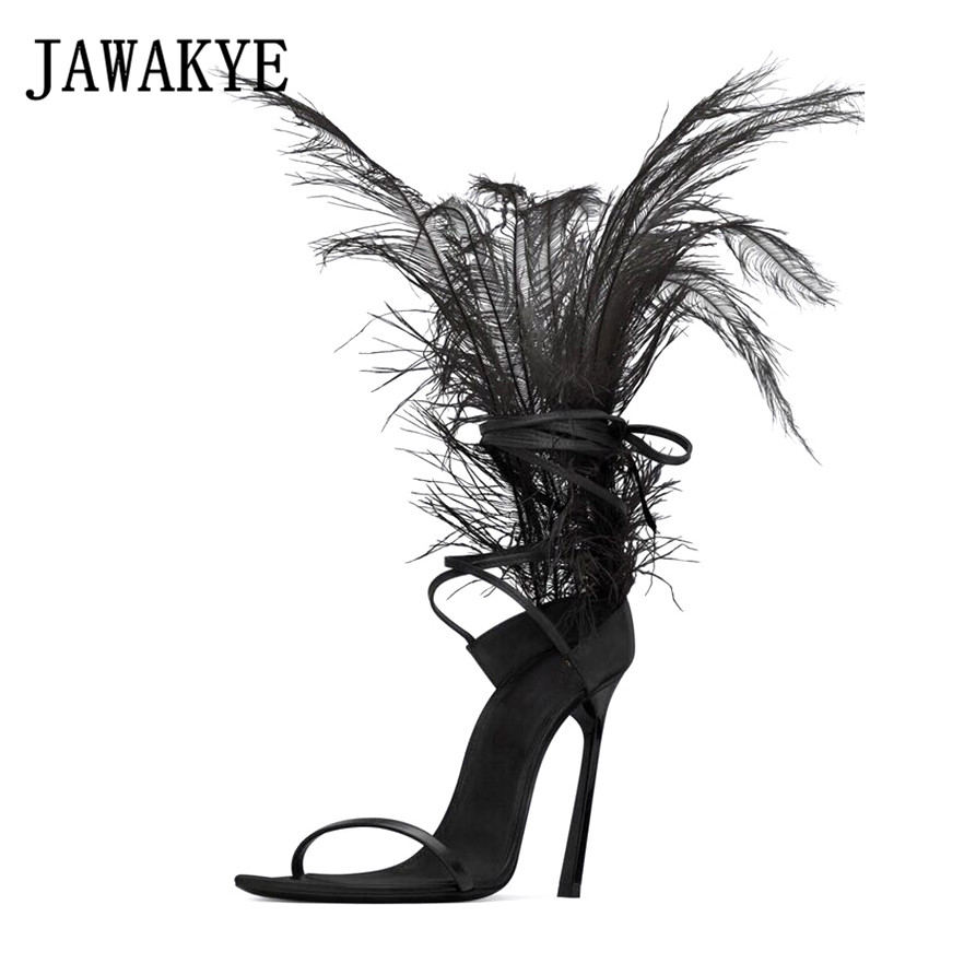 JAWAKYE Black Feather Sandals for women Ostrich hair decor Thin high heels dance Shoes ladies Fur sandals T Show Party Shoes figurine