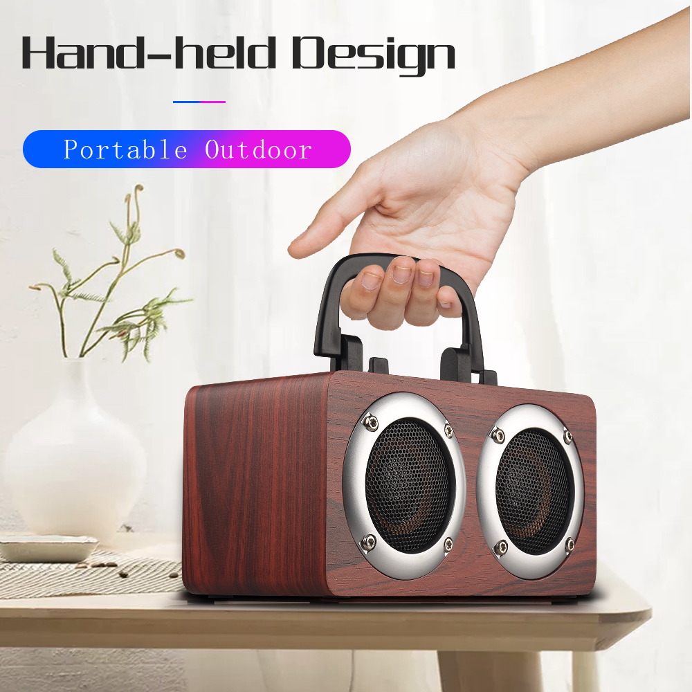 Wood Speakers Subwoofer Handfree Mp3 Player Music Super-Bass Portable Wireless Mic Bluetooth