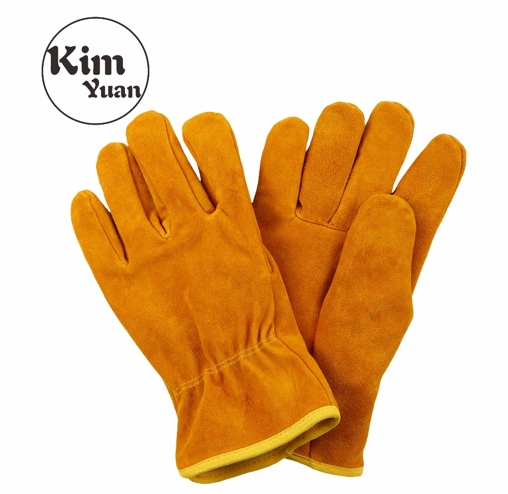 KIM YUAN 021 Cowhide Winter Warm Windproof Security Protection Working Gloves for Construction/Driver/Yard work, Men&Women ...
