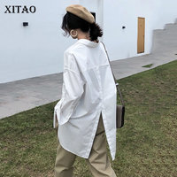 [XITAO] Fashion New Women 2018 Autumn Turn down Collar Full Sleeve Loose Shirt Female Solid Color Pocket Casual Blouse ZLL1597