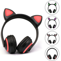 Children Headphones Flashing Glowing Ear Headset Earphone Headphone For Girls Kids Gaming Rabbit Deer Devil Ear