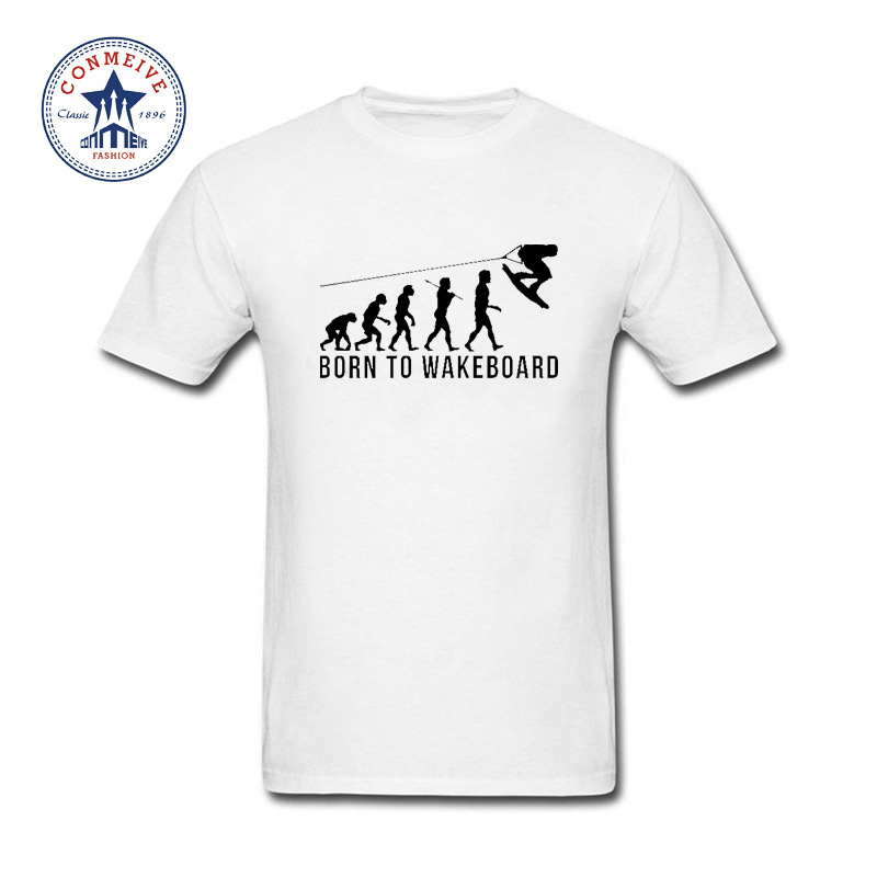 Hot High Quality Cotton Born To Wakeboard Evolution Funny T Shirt for men