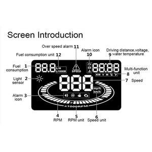 """Image 5 - GEYIREN Universal Auto HUD Head Up Display OBDII OBD2 Interface E300 Tacho Überdrehzahl Müdigkeit Fahren Alarm 5.5 """"Digital Auto"""