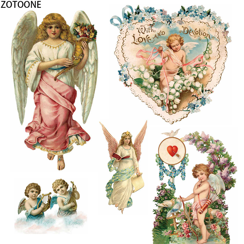 ZOTOONE Cute Angel Wings Patches Applications DIY Iron on Transfer Patches Thermo Heat on Stickers for Clothes Applique Badges E