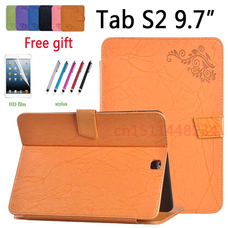 Shockproof stand Flip Cover For Samsung Galaxy Tab S2 9.7 SM-T810 T813 T815 T819 leather Smart Wake Sleep Case +Screen Film+pen