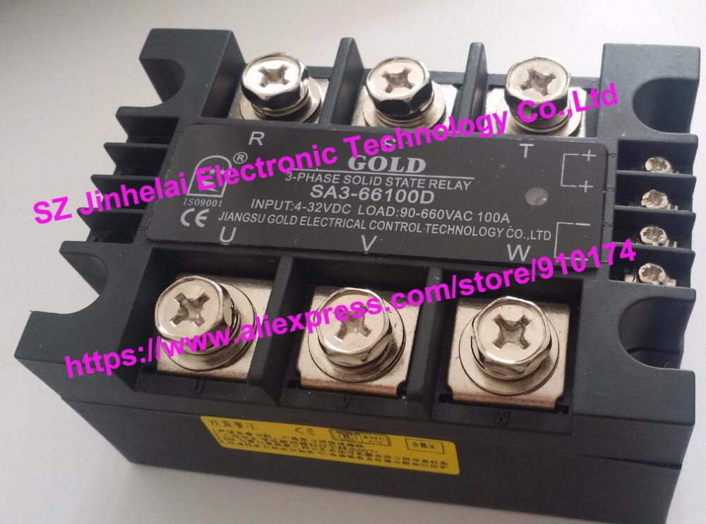 New and original SA366100D SA3-66100D GOLD 3-PHASE Solid state relay 4-32VDC, 90-660VAC 100A new and original sa34080d sa3 4080d gold solid state relay ssr 480vac 80a