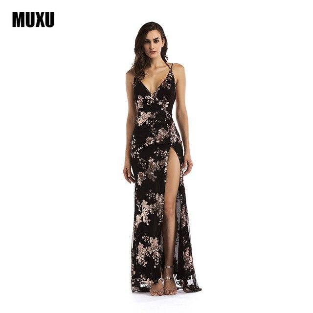 MUXU summer BLACK long gold sequin dress robe femme sexy glitter vestidos  de verano backless long dresses womens clothing robe af2ed33b304d