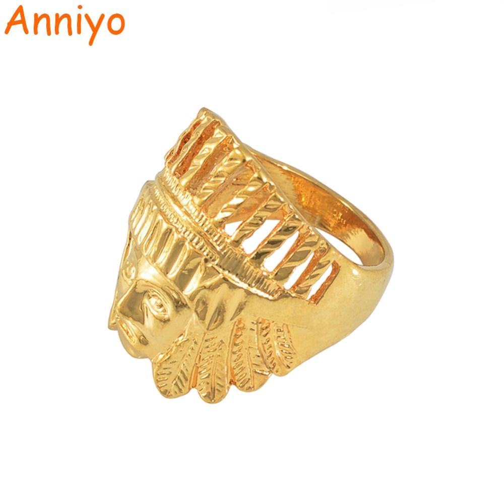 Portrait of Indians Ring for Women/Men 18k Silver/Gold Plated & Filled Copper Rings Jewelry Punk Cool Item #016A110