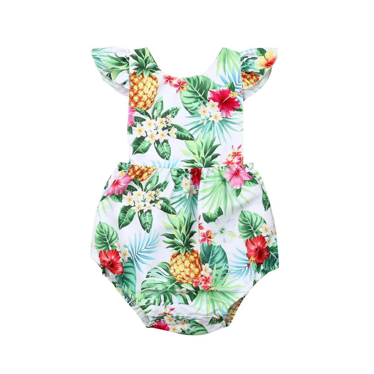 Коллекция 2019 года, летняя одежда для малышей милый боди с цветочным рисунком для маленьких девочек Комбинезон с короткими рукавами и оборками, костюм с вырезом на спине для детей от 0 до 24 месяцев