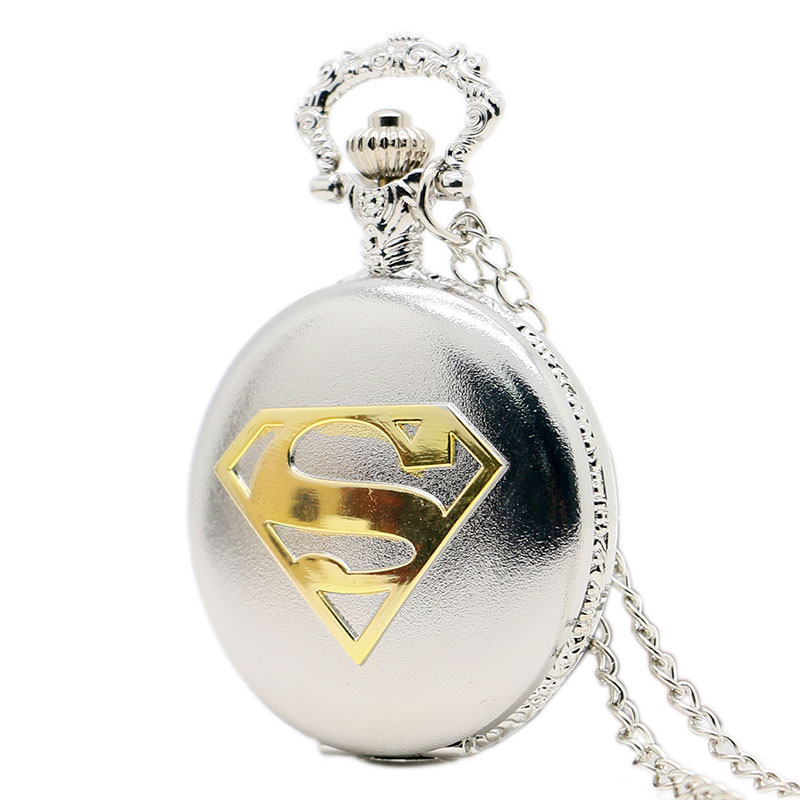 Fashion Silver Case With Golden Superman Logo Theme Pendant Pocket Watch With Chain Necklace Free Shipping old antique bronze doctor who theme quartz pendant pocket watch with chain necklace free shipping