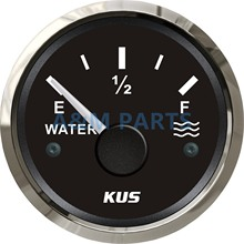 KUS Marine Water Level Gauge Boat Water Tank Level Gauge Indicator Empty Full Red/Yellow LED 12/24V 52mm 0-190 ohms Black Face