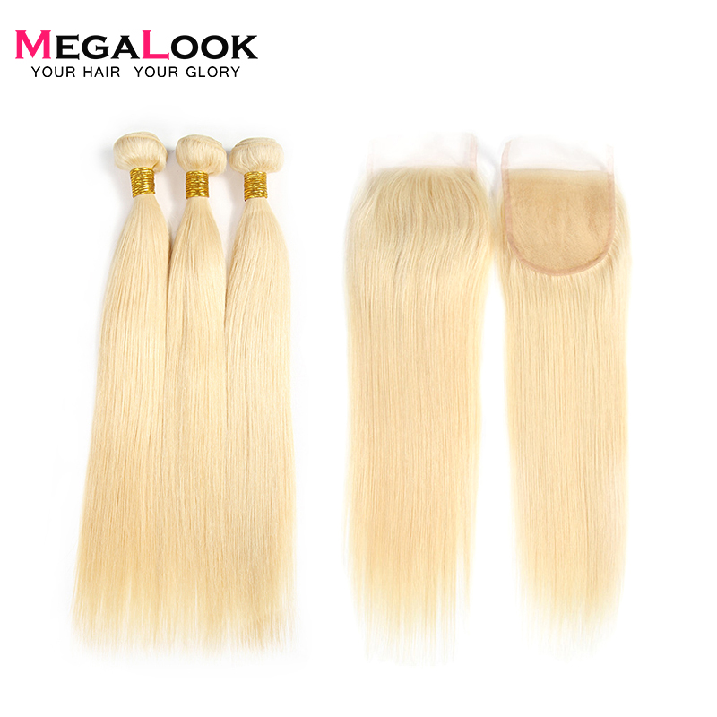 Megalook 613 Hair Bundles with Closure 3pcs Brazilian Honey Blonde Straight Remy Human Hair with Closure