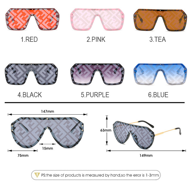 H2OR3 Brand Designer 2019 Oversized Frame Women Sunglasses Fashion Gradient Red Pink Women's F Sun Glasses Shade Goggle UV400