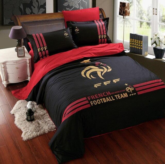 foot linge de lit Noir coton football équipe literie ensembles pour garçons hommes  foot linge de lit