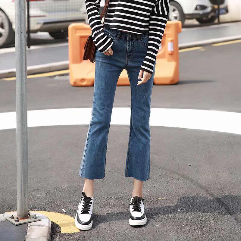 Taille haute élastique micro corne jeans femmes slim denim pantalon noir bleu cheville longueur pantalon jeans femme 2019 nouveau jeans LDL56