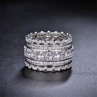 Mais novo a partir de Cristal Austríaco Requintado rendas oco de prata rendas dedo indicador anel grande Para As Mulheres Moda 925 de Jóias Anéis
