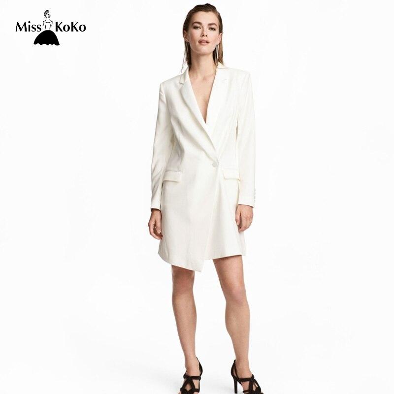 Misskoko 2018 Women Beige Blazer Dress Asymmetrical Female Elegant Casual Vestidos Clothing Woman Clothes Vestido de festa New