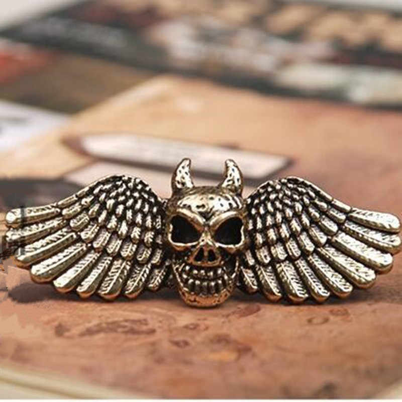 R203 mix wholesale  European and American style vintage skull with angel wings female double finger ring for men