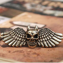 R203 mix wholesale European and American style vintage skull with angel wings female double finger ring for men(China)