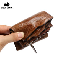 BISON DENIM Genuine Cowhide Leather Men Wallet Short Coin Purse Small Vintage Wallet Brand High Quality