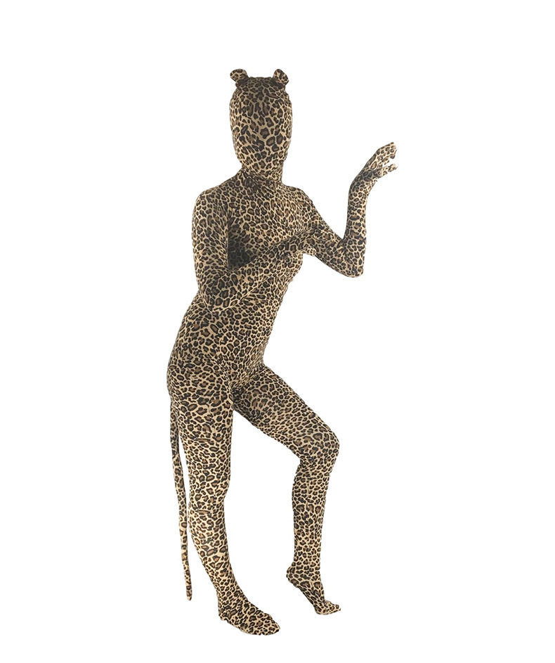 Sexy Woman Costume Spandex Lycra Leopard Print Animal Full Body Zentai Suit with Ear and Tail