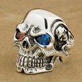 Brand LINSION Solid 925 Sterling Silver Titan Skull Red Blue CZ Stone Eyes Mens Biker Rocker Punk Ring 8V805 US Size 7~15