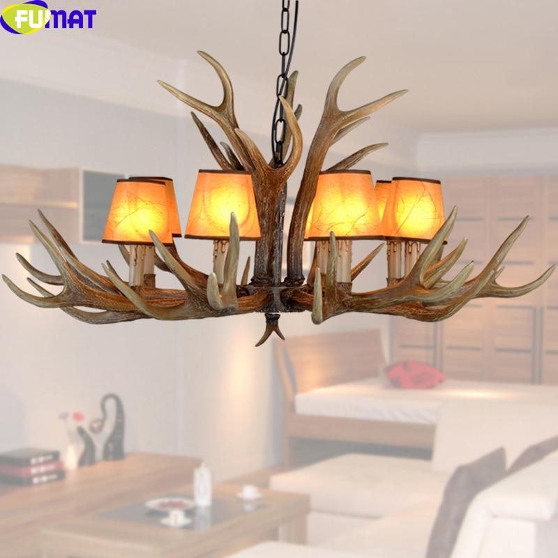 FUMAT 8 Heads Fabric Lampshade Antler Pendant Light Indoor Lighting Fixture for Bedroom Dinning Room Chrismas Lamp Hanging Light
