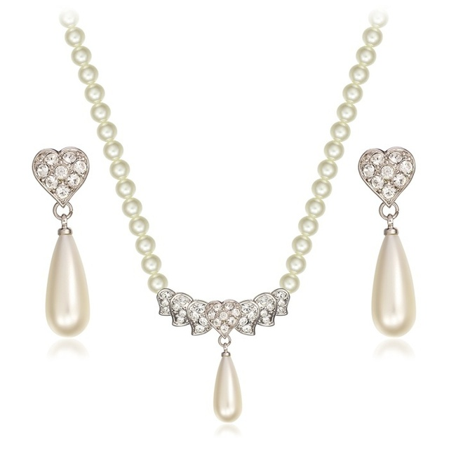7d723587299a € 3.78 40% de DESCUENTO|De corazón de cristal de lágrima de pendientes de  perlas redonda imitación gargantilla perla collar de conjuntos de joyas ...