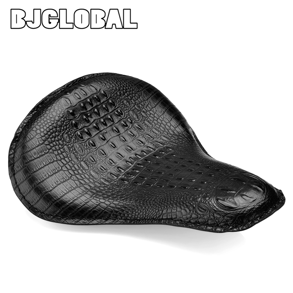 Motorcycle Leather Solo Passenger Seat Cover Cowl Pad For Harley Sportster Bobber Chopper Custom Brown Black Crocodile Mounting