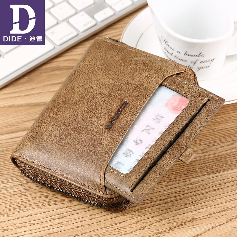 DIDE Genuine Leather Wallet Male Short Coin Purse Cowhide Card Holder Small Wallet Mini Photo Holder Vintage Designer Men DQ710K men wallet cowhide genuine leather purse money clutch vintage zipper card holder coin photo 2017 short designer male wallets