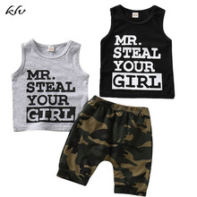 Newborn Infant Baby Boys Summer Letter Print Outfits Tank Vest Tops + Camo Shorts Pants camo print mixed