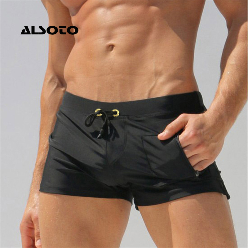 ALSOTO Sexy Man Swimwear Men's Swimsuits Swimming Trunks Sunga Hot Mens Swim Briefs Beach Shorts Mayo Sunga Swim Suits Gay Pouch elastic string bulge pouch sheer briefs