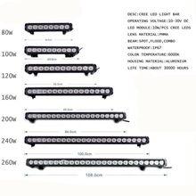 Marloo-barre lumineuse de travail Led pour voiture tout terrain, 80W 100W 120W 160W 180W 240W, 13
