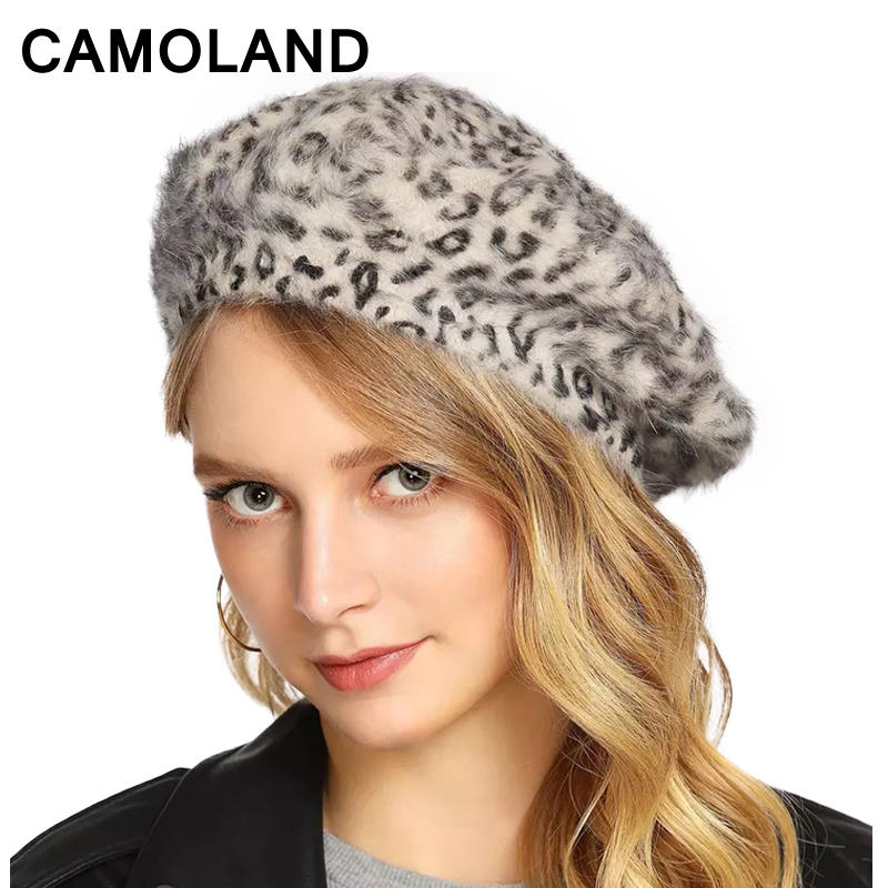 a84be7477 Leopard Print Women's Winter Hats Fashion Women Fur Cap Berets Wo Lady Autu  Warm Girl Painter Hat Rabbit fur Small leopard
