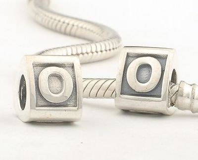 LE02-O Authentic 100% 925 Sterling Silver Letter O Bead Brand Charms 2014 new Women Jewelry Fits Pandora Bracelet Hot Selling