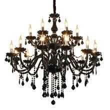 Черная свеча люстра модная гостиная лампа люстра освещение черные хрустальные люстры освещение Свеча лампа столовая