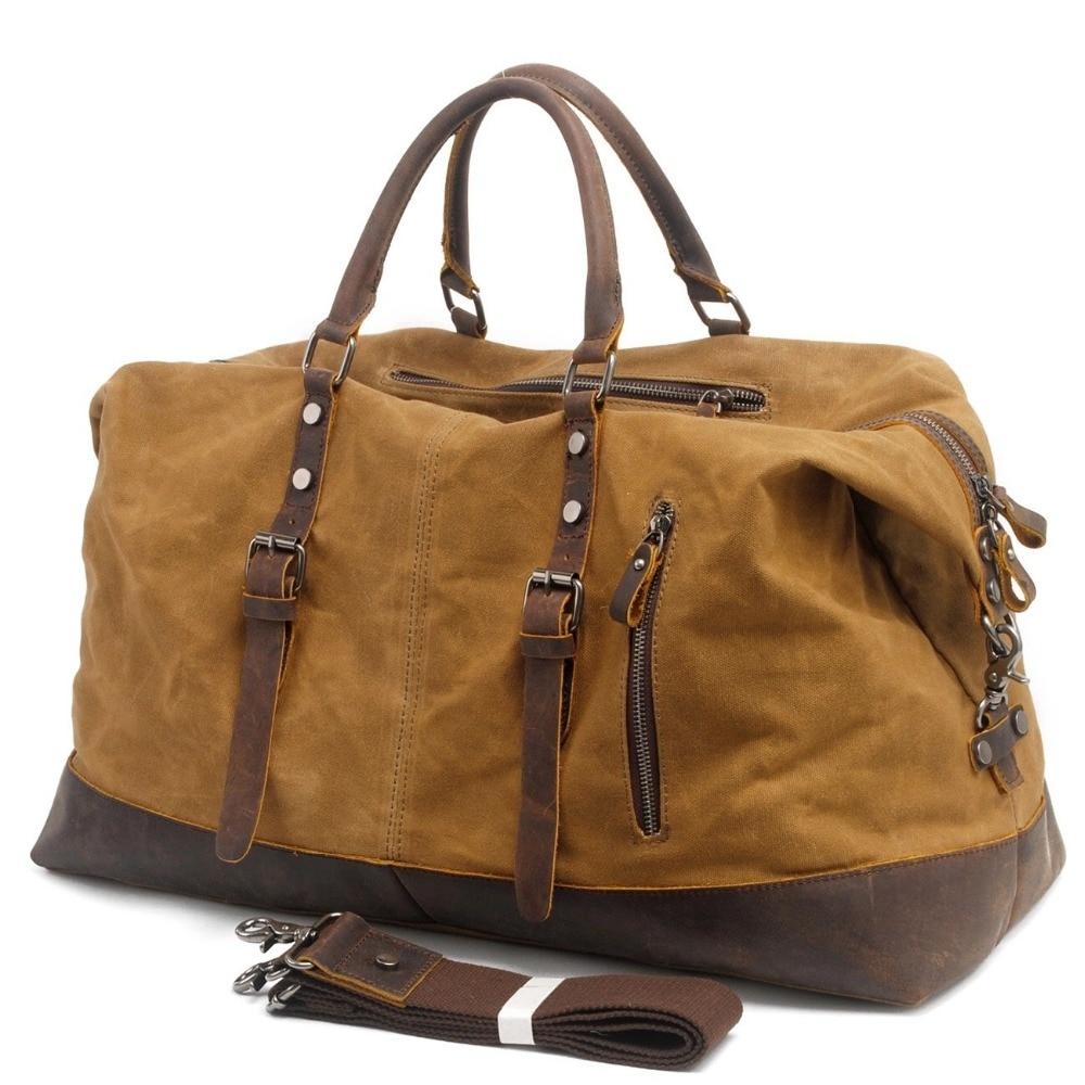 Vattentät Duffel Bag Men Canvas Canvas På Weekend Väskor Vintage - Väskor för bagage och resor - Foto 3