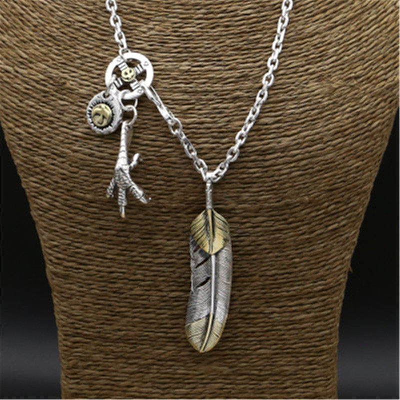 48.6g 925 Sterling Silver Feather Long Necklace for Men Women Vintage Feather Claw Pendant 3.8mm Chain With Eagle Tag Jewelry eagle claw alloy feather necklace