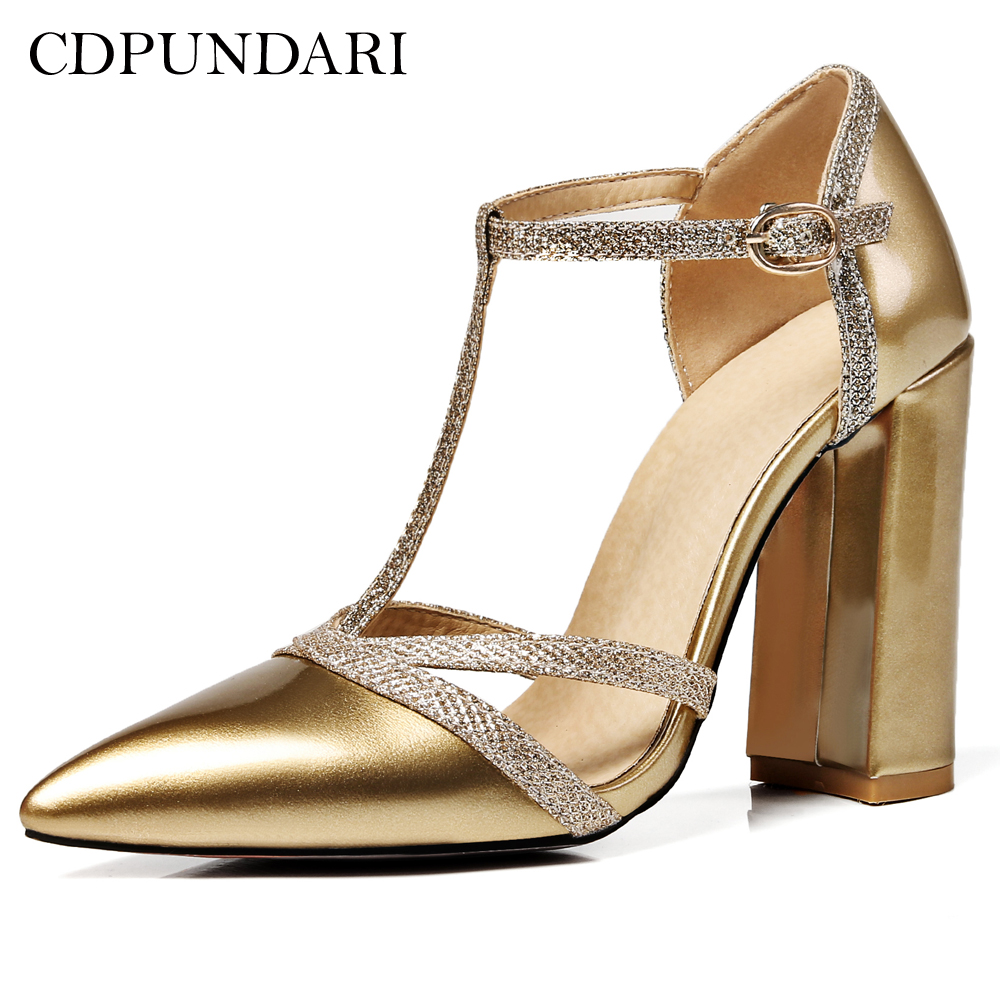 CDPUNDARI T-Strap Pointed Toe Sexy high heels women Pumps shoes Wedding shoes woman