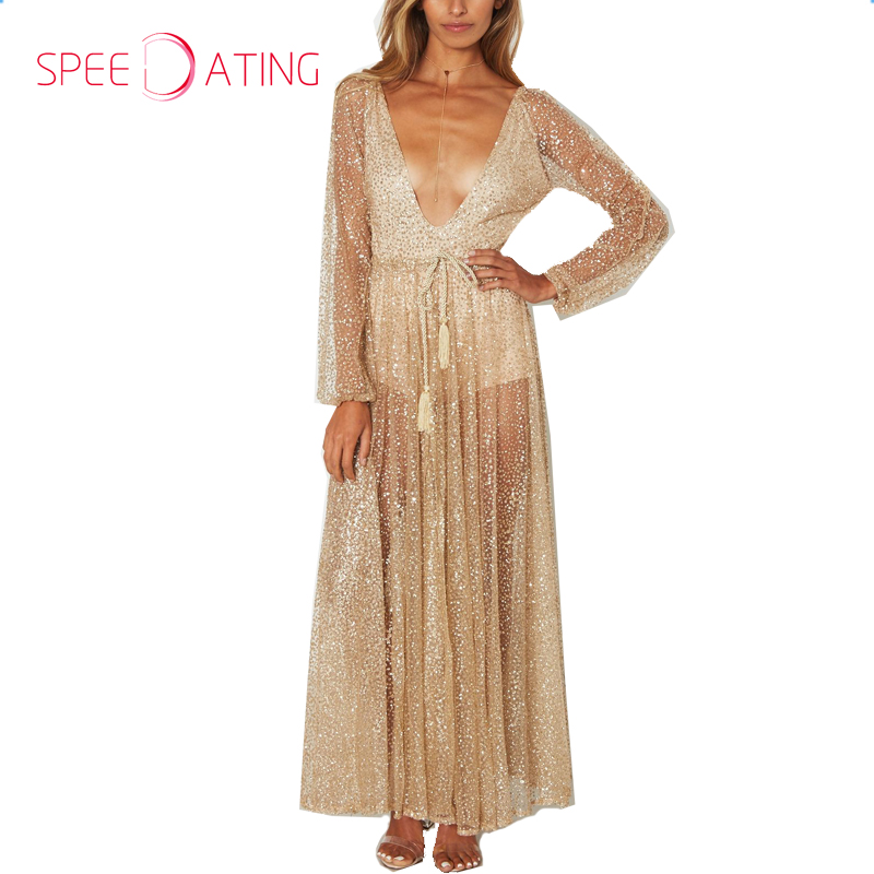 6ddccf651bb1 Sexy Deep V Neck Sequin See Through Maxi Dresses Ankle Length A line Gold  Long Sleeves Women Party Event Dresses SPEEDATING-in Dresses from Women's  Clothing ...