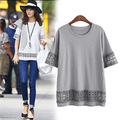 Kesebi 2017 Summer New Fashion Women European Stitching Loose Hollow Lace T-shirts Female Short Sleeve Casual Solid Color Tops