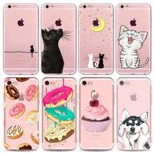 For Apple iPhone 8 7 6 6S 5 5S SE 7Plus 6sPlus Soft Silicon Transparent Phone Case Cover Cute Marcon Cat Husky Phone Capa
